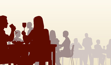 dining: Editable  silhouette of people eating in a restaurant