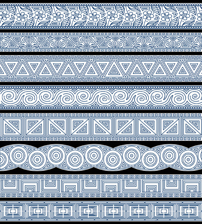 Set of abstract editable stripe designs Vector