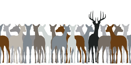 harem: Editable silhouette of a herd of deer