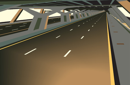 tollway: illustration of a car less highway and concrete structure