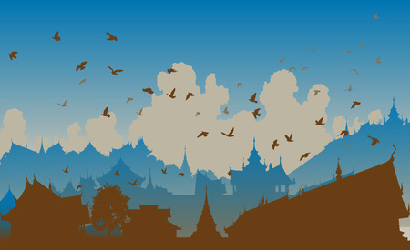flock of birds:  illustration of birds over a generic east asian city Illustration