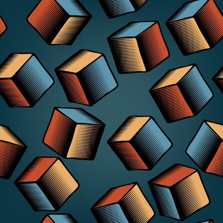 falling cubes:  seamless tile of falling cubes