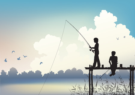 fishing scene:  scene of two boys fishing from a wooden jetty using gradient mesh