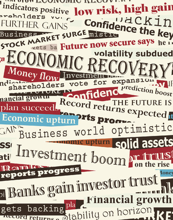 optimism: Background editable  design of newspaper headlines about economic recovery