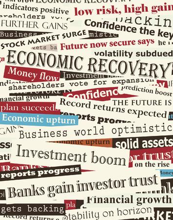 stock predictions: Sfondo modificabile di giornali sulla ripresa economica