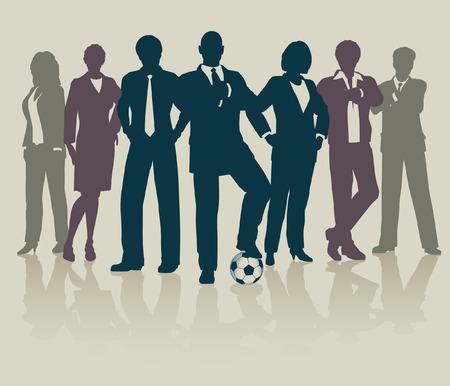 kollegen: Bearbeitbare Abbildung eines sportbezogene Business-Teams