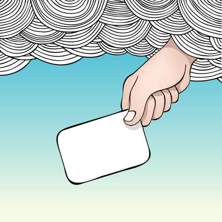 Editable   illustration of a hand reaching out of the clouds holding a blank card