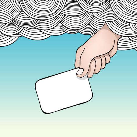 mano de dios: Ilustraci�n editable de una mano alcanzando fuera de las nubes sosteniendo una tarjeta en blanco  Vectores