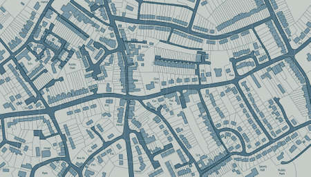 Editable illustrated map of housing in a generic town Vector