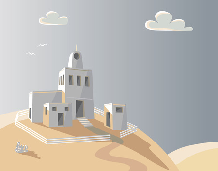 homestead: Editable  illustration of an adobe homestead on a hilltop Illustration
