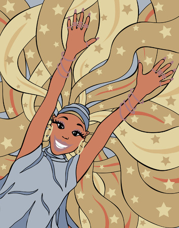 elation: Editable illustration of a woman with long hair jumping