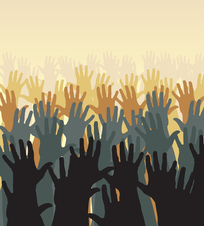 Editable  illustration of a crowd of waving hands Stock Vector - 7689421