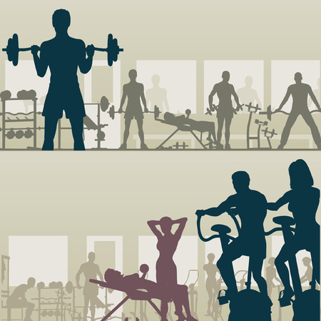 gym: Two editable   silhouettes of people exercising in a gym