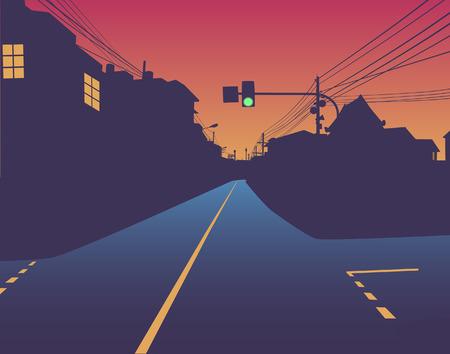 deserted: Editable   design of green traffic light over an empty street at sunset Illustration