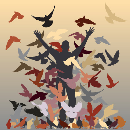 nuisance:  silhouette of a man and flock of pigeons with all elements as separate objects