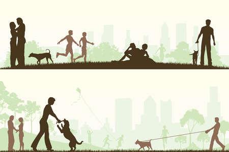 mujer con perro: Dos dise�os editables de parques de la ciudad con todos los elementos como objetos editables independientes