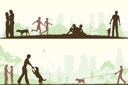 dog leashes: Two editable  designs of city parks with all elements as separate editable objects Illustration