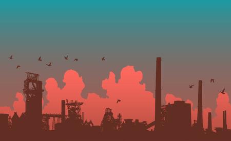 Detailed editable   illustration of an industrial skyline Stock Vector - 7689464