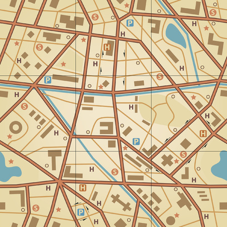 geography map: Editable  seamless tile of a generic city without names Illustration