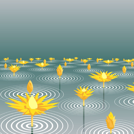 emerge: Editable  illustration of lotus flowers emerging from a lake