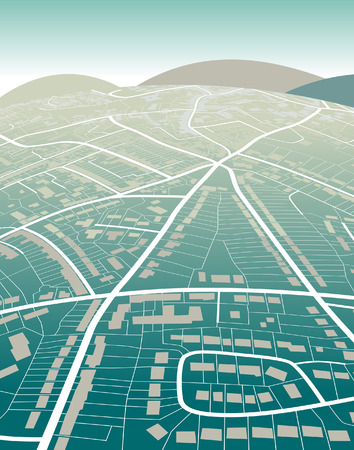 Editable   illustration of a generic street map and green hills Vector