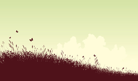 Editable   silhouette of a grassy meadow and clouds with copy space Stock Vector - 7794751