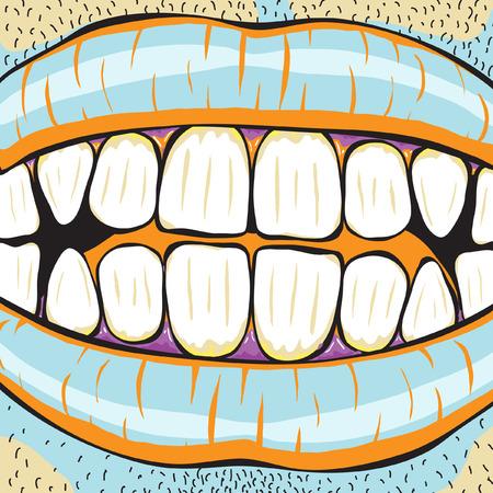 dientes sucios: Ilustraci�n vectorial editable de boca de un hombre