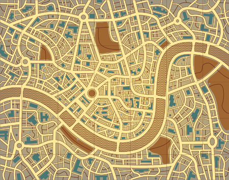 generic: Editable  illustration of a street map without names Illustration