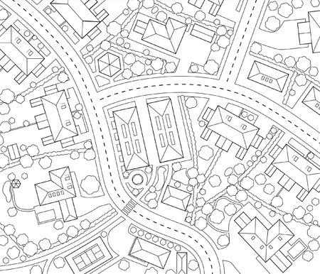 haus garten: Bearbeitbare der Umri� eines generischen Wohnviertels Illustration