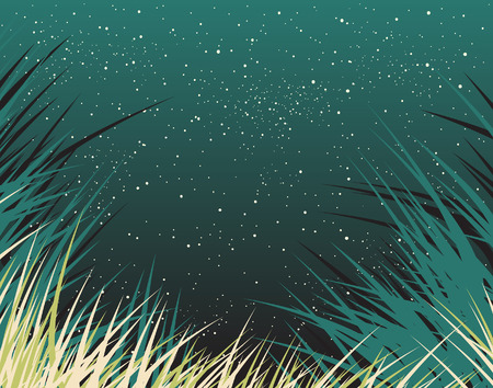 grass verge: Editable  background of grass and stars