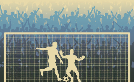 penalty: Editable  illustration of a cheering crowd watching a penalty kick in a soccer match