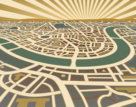 city location: Editable  illustration of a street map landscape