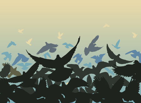 flapping:   design of a flock of pigeons taking off with each bird as a separate object Illustration