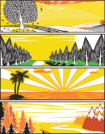 Set of editable  banner illustrations of landscapes in pop art style Stock Vector - 7794768