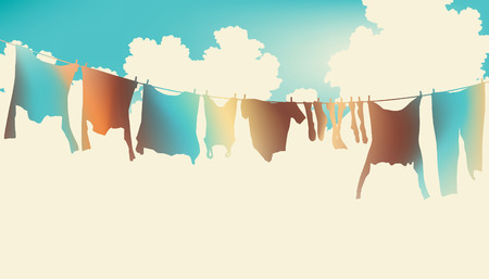 Editable  illustration of colorful clothes on a washing line