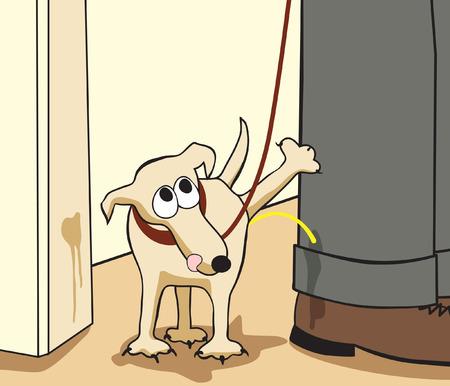 mutt: Fumetto vettoriale modificabile di un piccolo cane urinare sulle gambe del suo proprietario Vettoriali