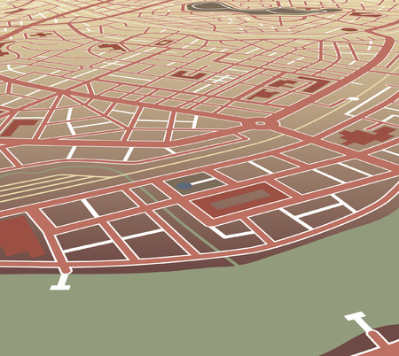 nameless: Editable map of a generic city at an angled perspective Illustration