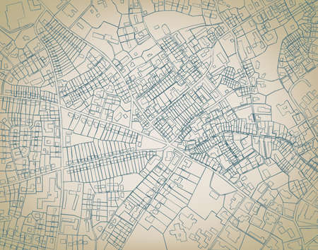 Editable  sketch blueprint of a detailed generic street map without names Vector