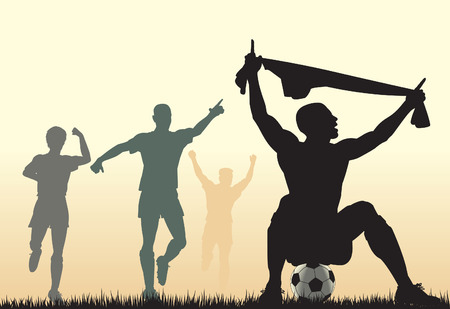 teammates: Editable  silhouette of a soccer player celebrating a goal plus team-mates