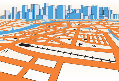 location:   street map of a generic city plus skyline Illustration