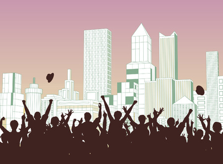 silhouette crowd: Editable  silhouette of a crowd celebrating on a city street