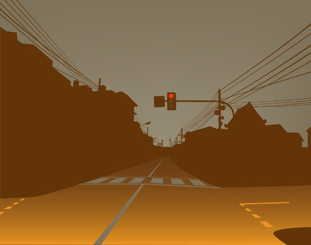 deserted: Editable  design of red traffic light over a dark and empty street