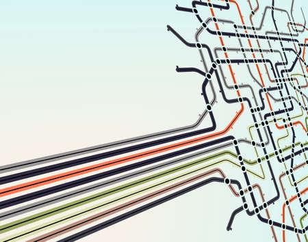 estación del metro: Fondo editable abstracta de un mapa del metro  Vectores