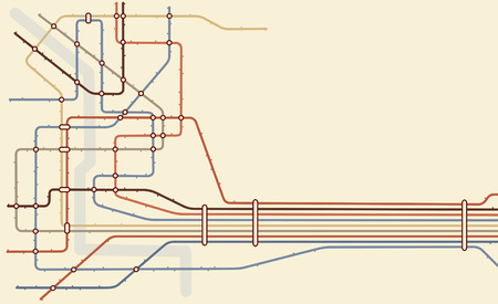nodes: Editable   map of a generic subway system with copy space Illustration
