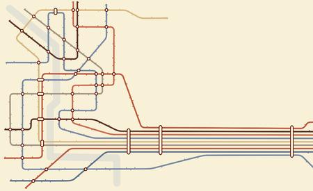 estación del metro: Mapa editable de un sistema de metro gen�rico con espacio de copia