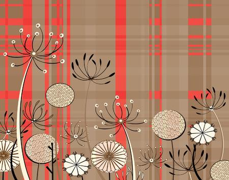 umbel: Editable   illustration of generic umbel lifer flowers and tartan pattern