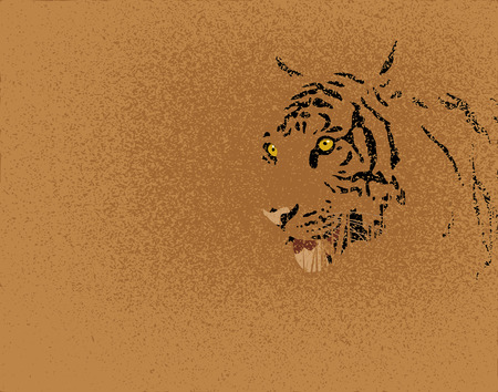 rare: Editable   illustration of a tiger and grunge