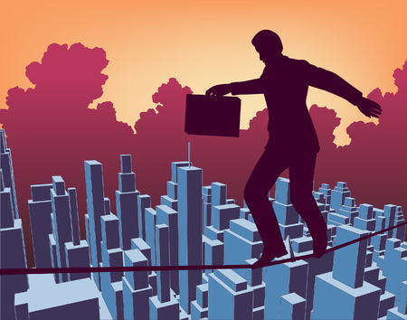 decision making: Editable  outline of a businessman walking a tightrope