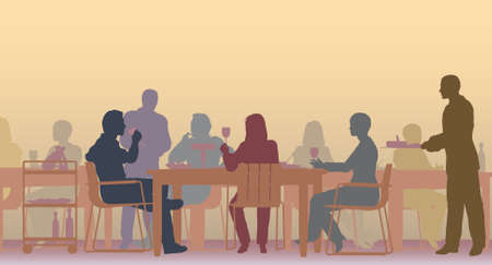Editable   scene of people eating in a restaurant Vector