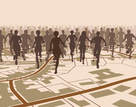 Editable illustration of a crowd of people running over a generic street map  Vector